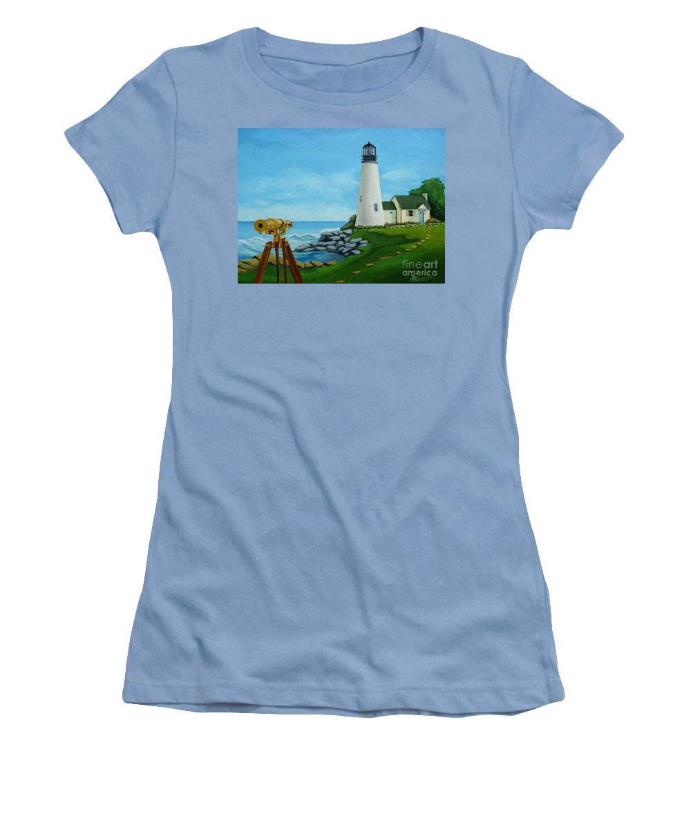 Lighthouse Women's T-Shirt (Athletic Fit) featuring the painting Looking Out To Sea by Anthony Dunphy
