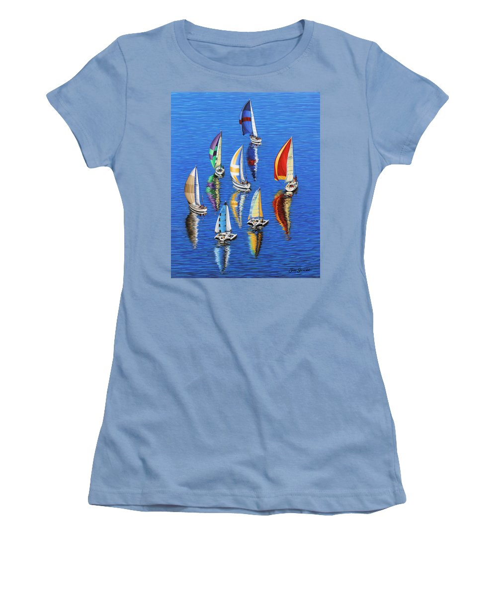Ocean Women's T-Shirt (Athletic Fit) featuring the painting Morning Reflections by Jane Girardot