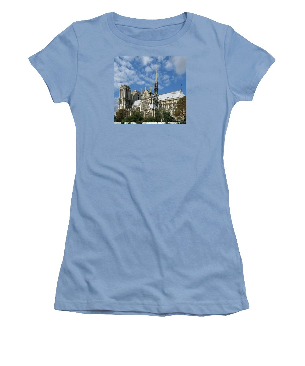 Notre Dame Women's T-Shirt (Athletic Fit) featuring the photograph Notre Dame Cathedral by Ann Horn