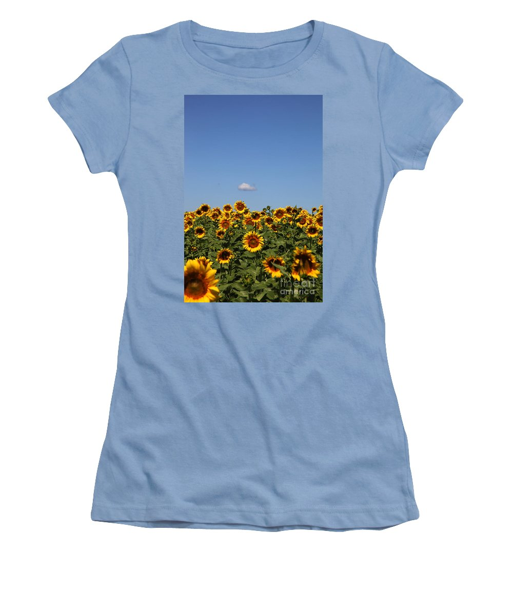 Sunflower Women's T-Shirt (Athletic Fit) featuring the photograph Passing By by Amanda Barcon