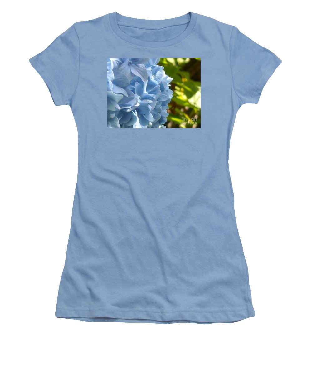 Flower Women's T-Shirt (Athletic Fit) featuring the photograph Pretty Blue Flower by Line Gagne