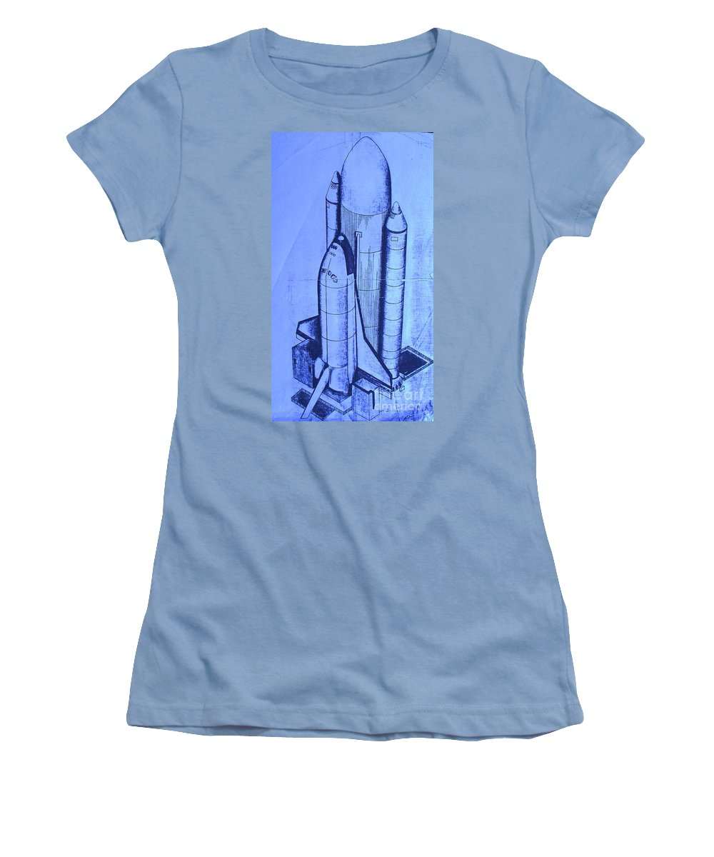 Space Shuttle Women's T-Shirt (Athletic Fit) featuring the painting Space Shuttle by Eric Schiabor