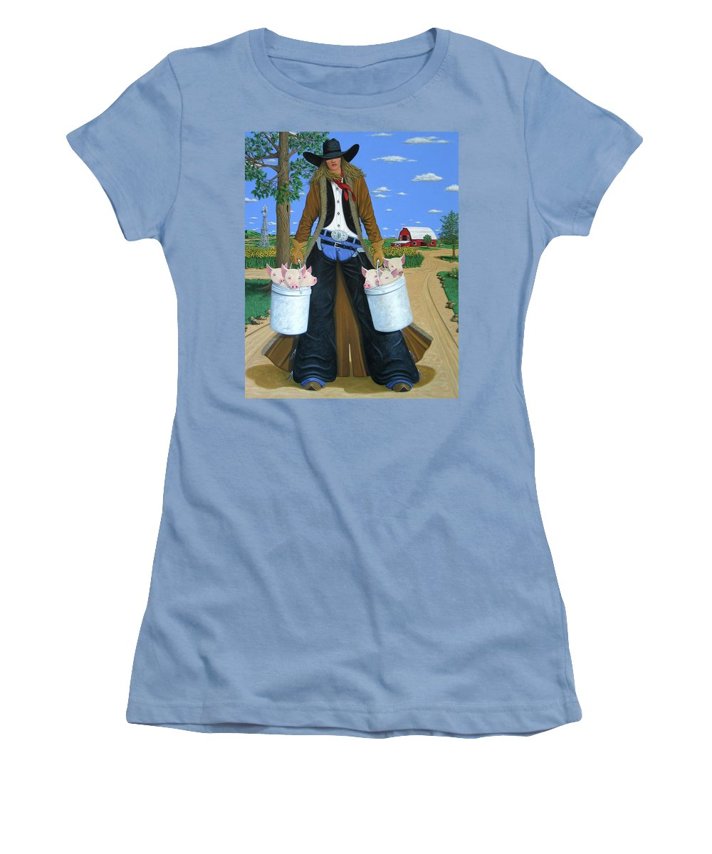 Little Piglets Women's T-Shirt (Athletic Fit) featuring the painting Tickled Pink by Lance Headlee
