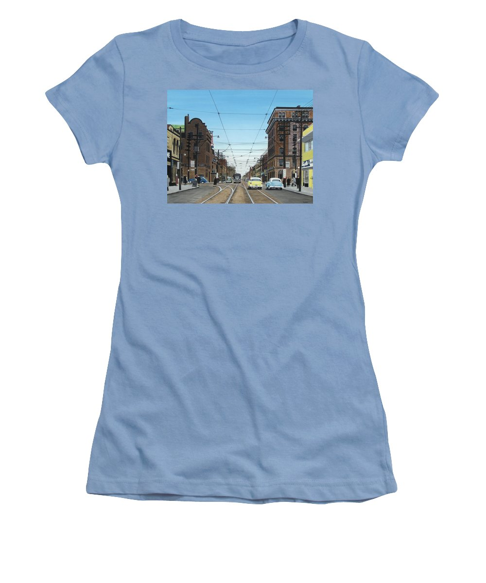 Streetscapes Women's T-Shirt (Athletic Fit) featuring the painting Toronto Yonge And Bloor 1954 by Kenneth M Kirsch