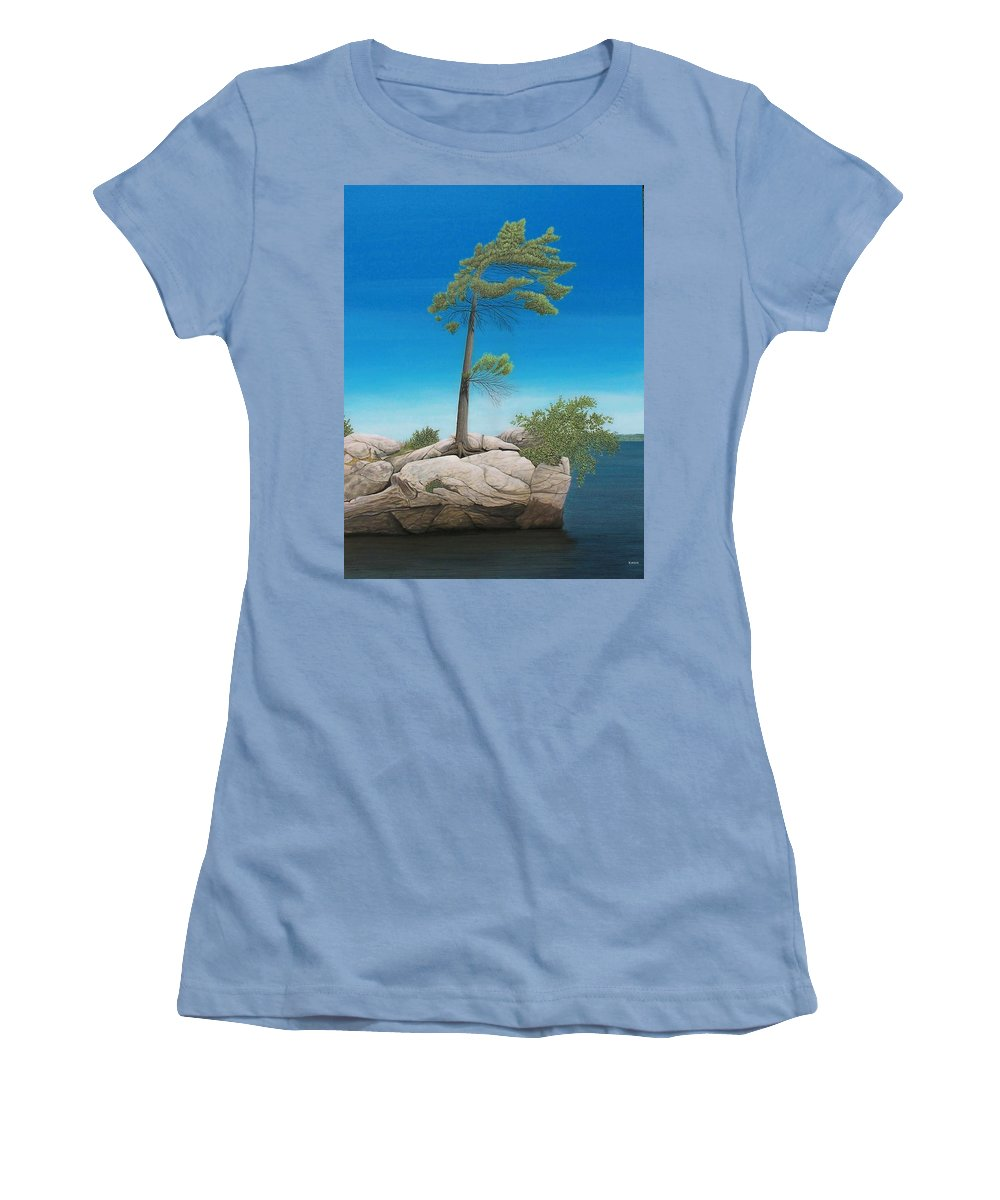 Landscapes Women's T-Shirt (Athletic Fit) featuring the painting Tree In Rock by Kenneth M Kirsch