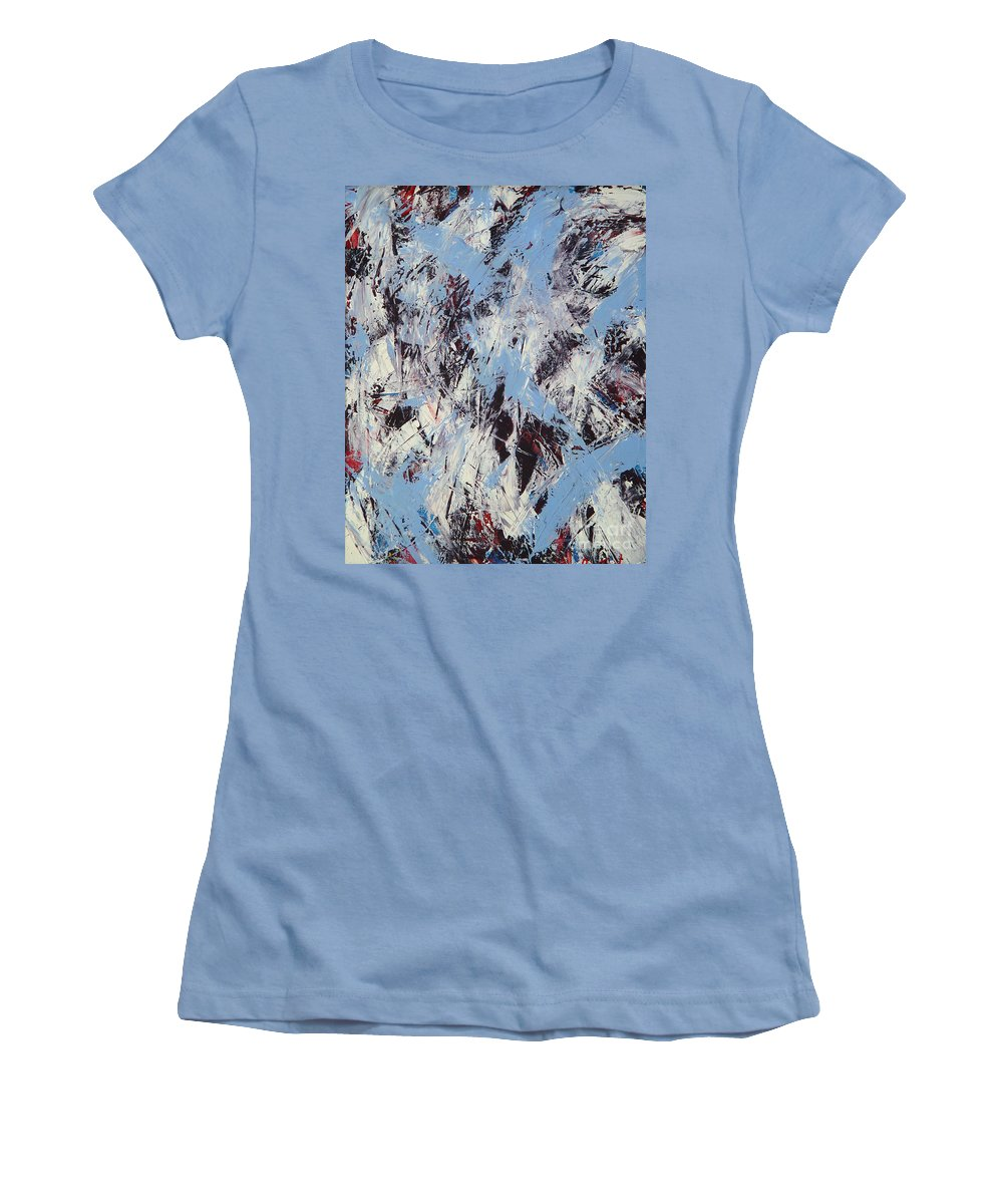 Abstract Women's T-Shirt (Athletic Fit) featuring the painting Winter by Dean Triolo