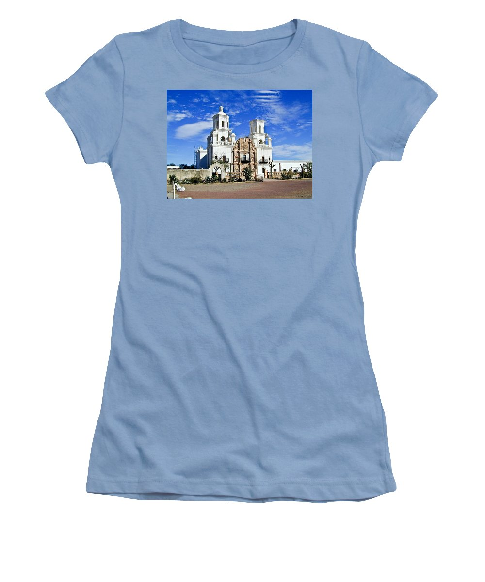 Mission San Xavier Del Bac Women's T-Shirt (Athletic Fit) featuring the photograph Xavier Tucson Arizona by Douglas Barnett