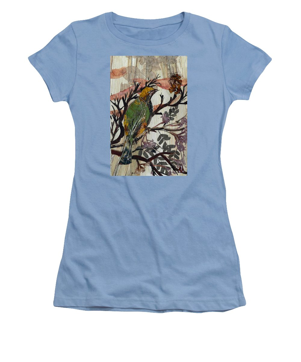 Green Bird Women's T-Shirt (Athletic Fit) featuring the mixed media Green-yellow Bird by Basant Soni