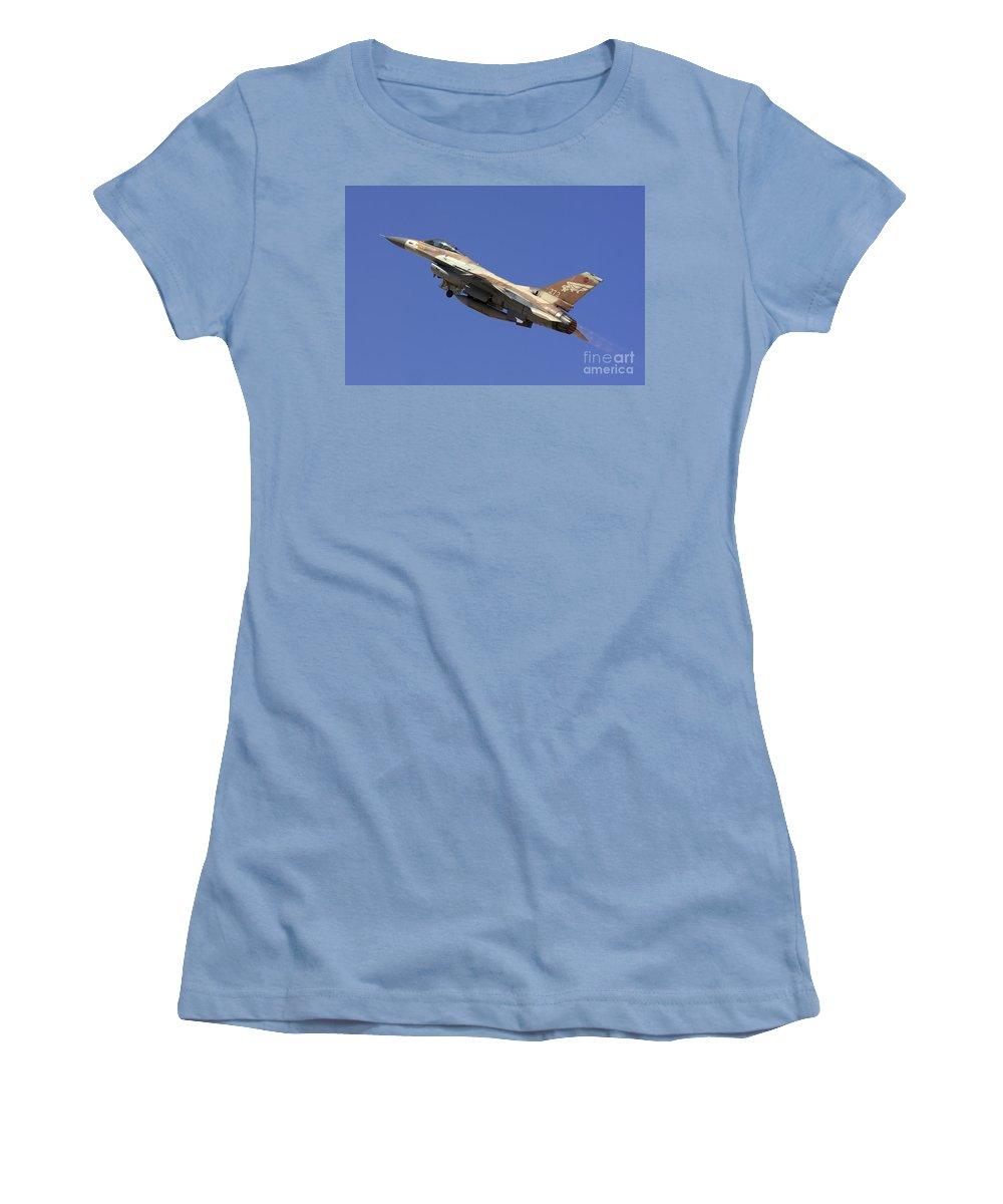 Aircraft Women's T-Shirt (Athletic Fit) featuring the photograph Iaf F-16a Fighter Jet On Blue Sky by Nir Ben-Yosef