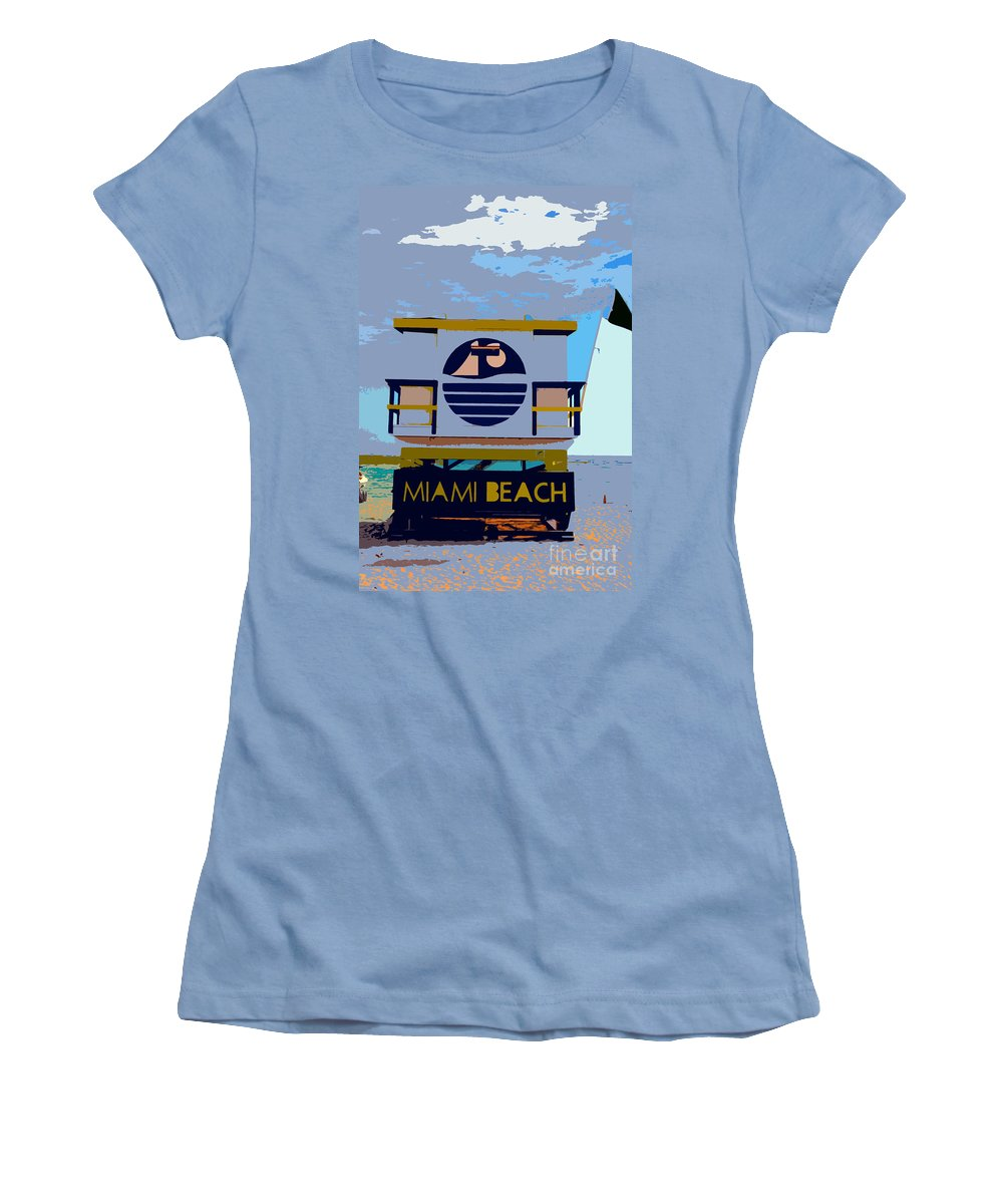 Miami Beach Florida Women's T-Shirt (Athletic Fit) featuring the photograph Art Deco Lifeguard Stand by David Lee Thompson