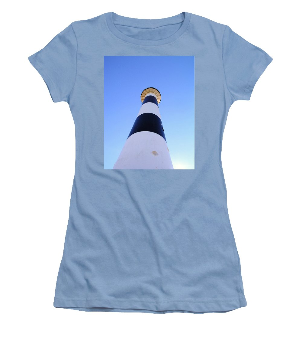 Cape; Canaveral; Light; Lighthouse; Lighthousekeeper; Keeper; Stairs; Kennedy; Space Center; Air For Women's T-Shirt (Athletic Fit) featuring the photograph Canaveral Light by Allan Hughes