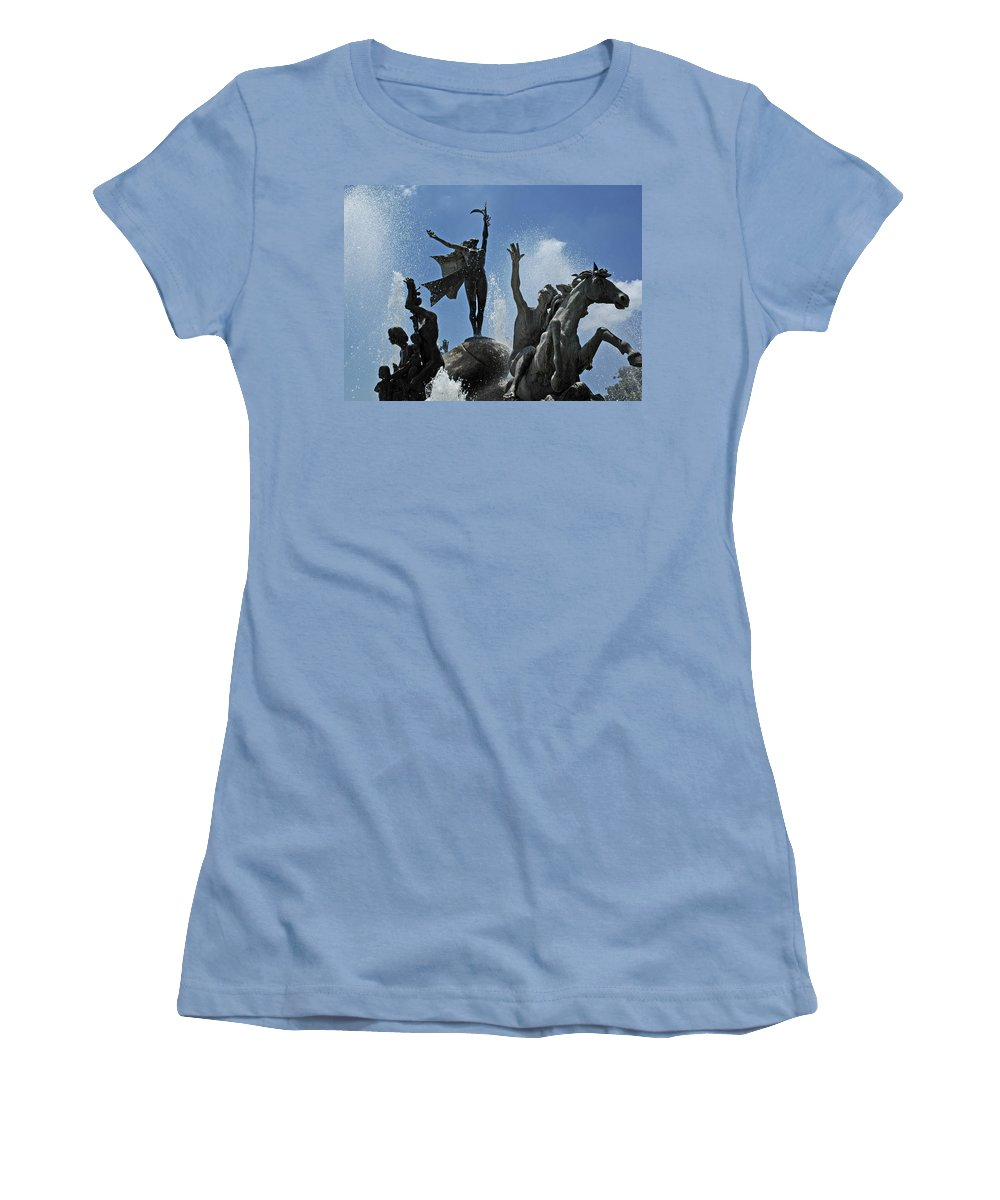 Statue Women's T-Shirt (Athletic Fit) featuring the photograph Old San Juan Puerto Rico by Tito Santiago