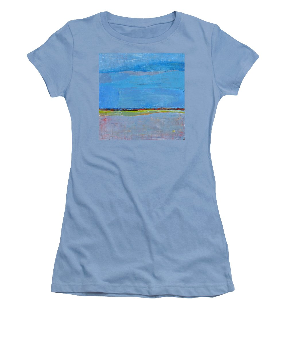 Women's T-Shirt (Athletic Fit) featuring the painting Abstract Landscape1 by Habib Ayat