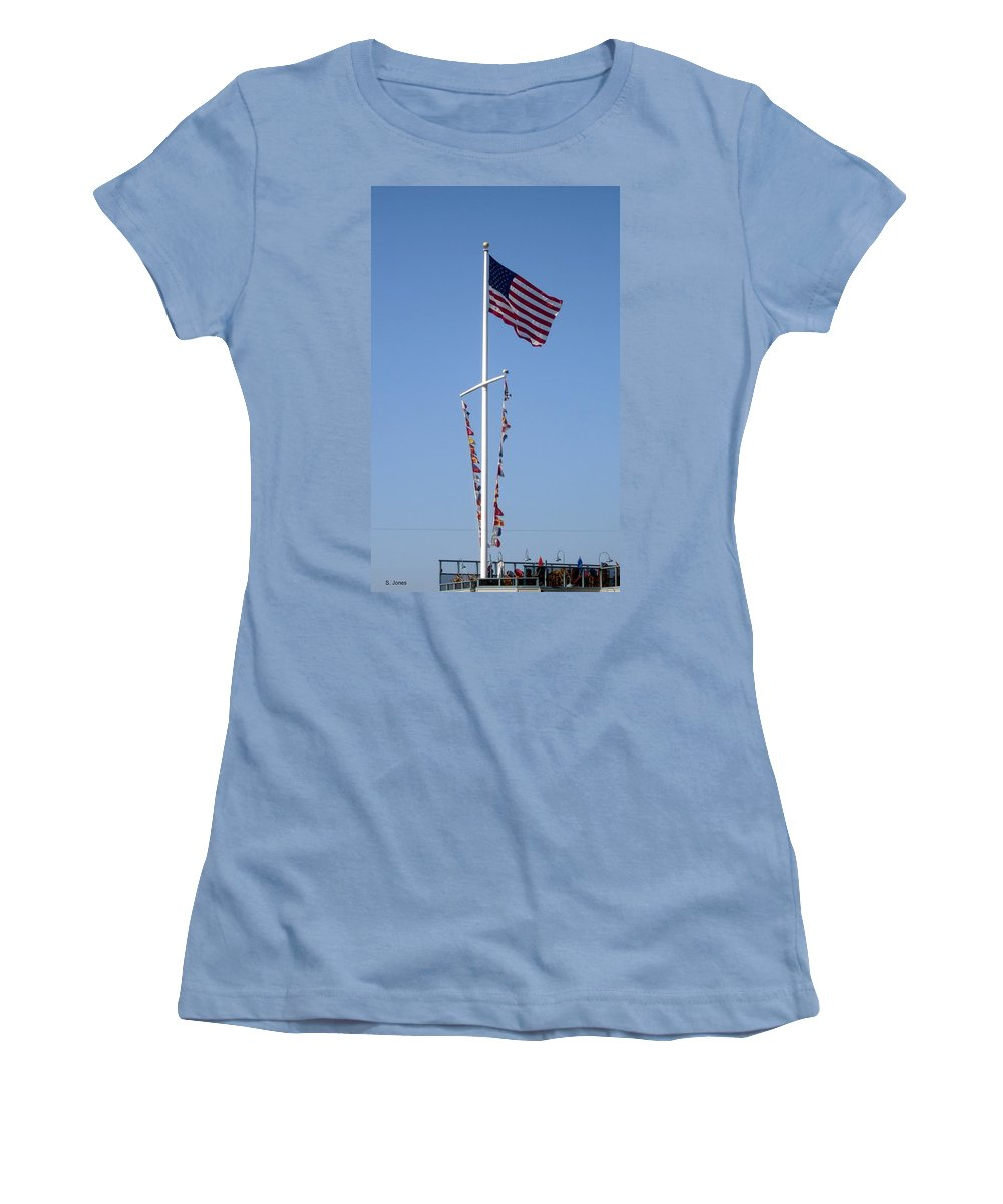 American Flag Women's T-Shirt (Athletic Fit) featuring the photograph American Flag by Shelley Jones