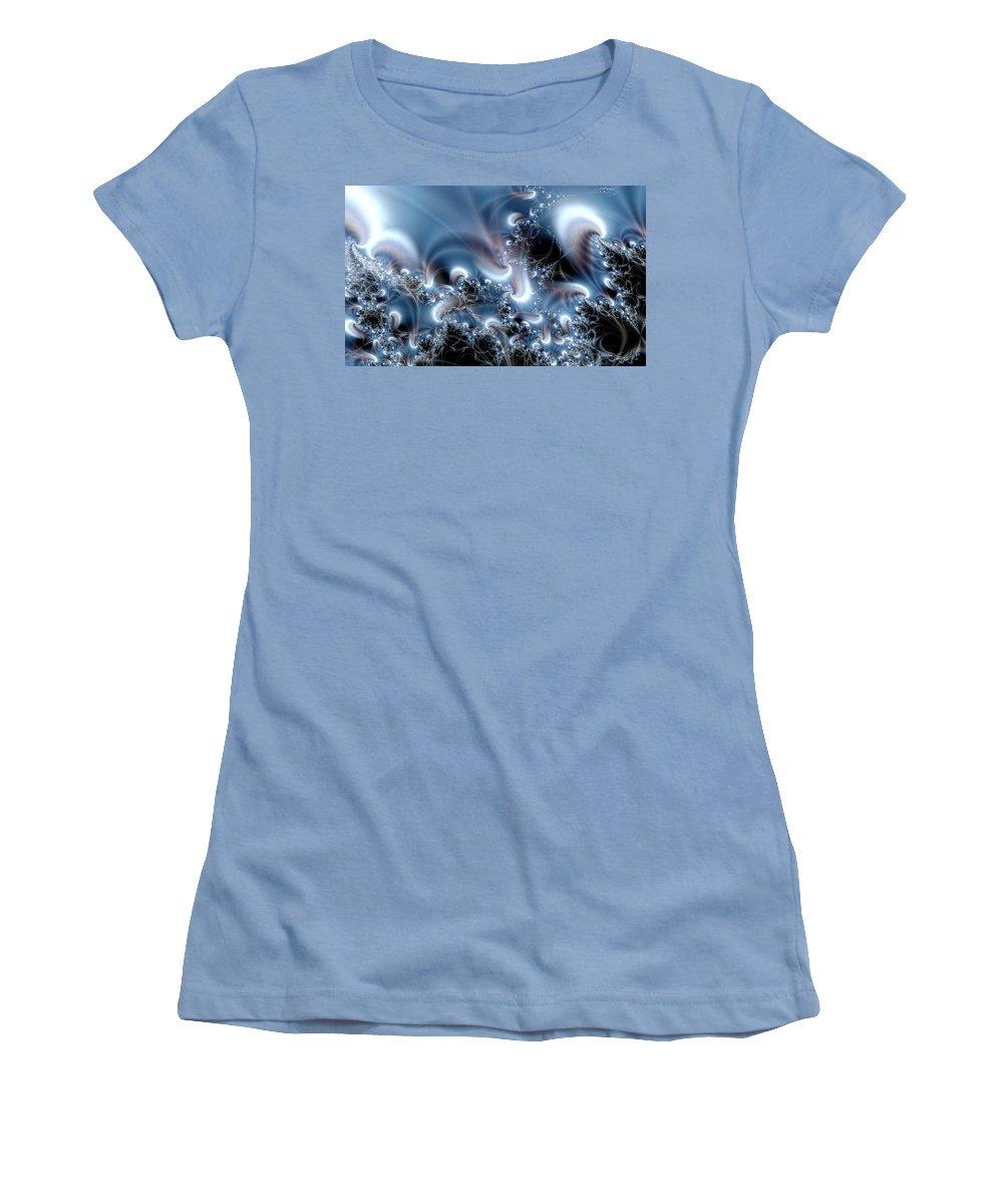 Water Bubbles Blue Nature Flow Women's T-Shirt (Athletic Fit) featuring the digital art Aquafractal by Veronica Jackson
