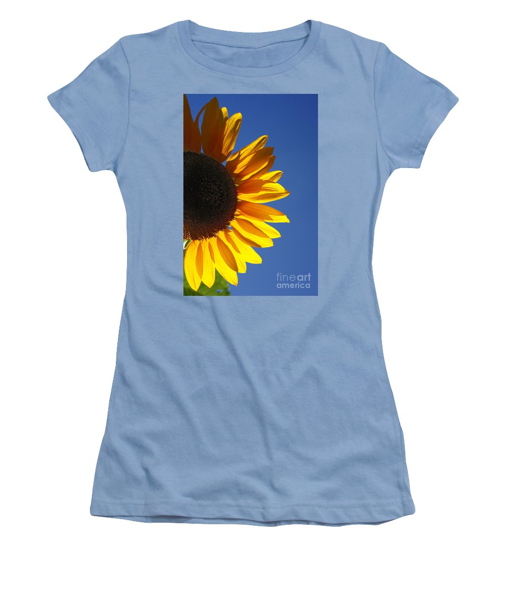 Back Light Women's T-Shirt (Athletic Fit) featuring the photograph Backlit Sunflower by Gaspar Avila