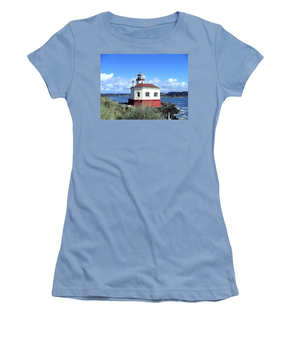 Coquille Lighthouse Women's T-Shirt (Athletic Fit) featuring the photograph Bandon 1 by Will Borden