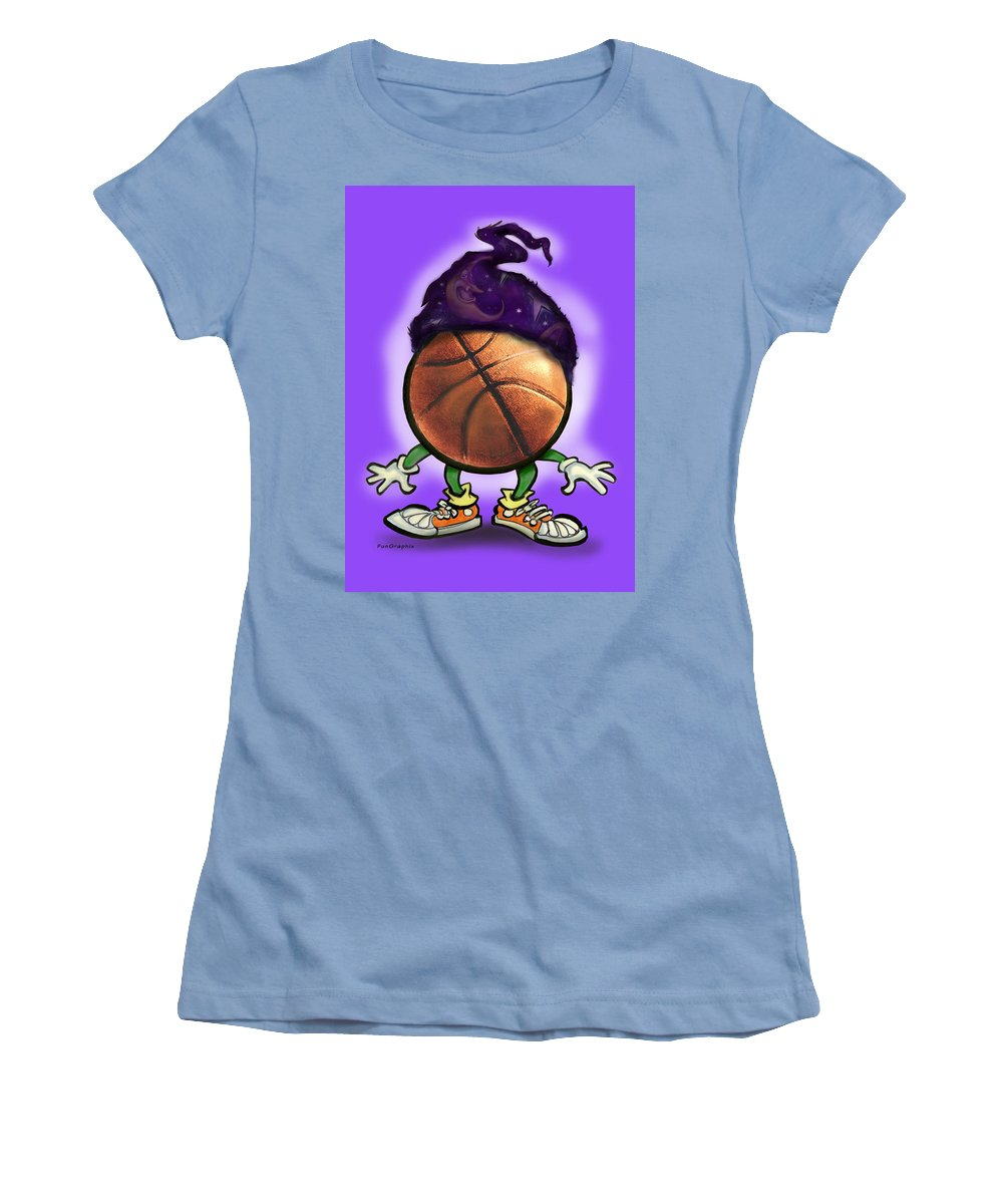 Basketball Women's T-Shirt (Athletic Fit) featuring the greeting card Basketball Wizard by Kevin Middleton