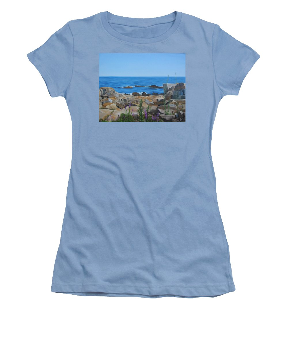 Seascape Women's T-Shirt (Athletic Fit) featuring the painting Bass Rocks Gloucester by Lea Novak