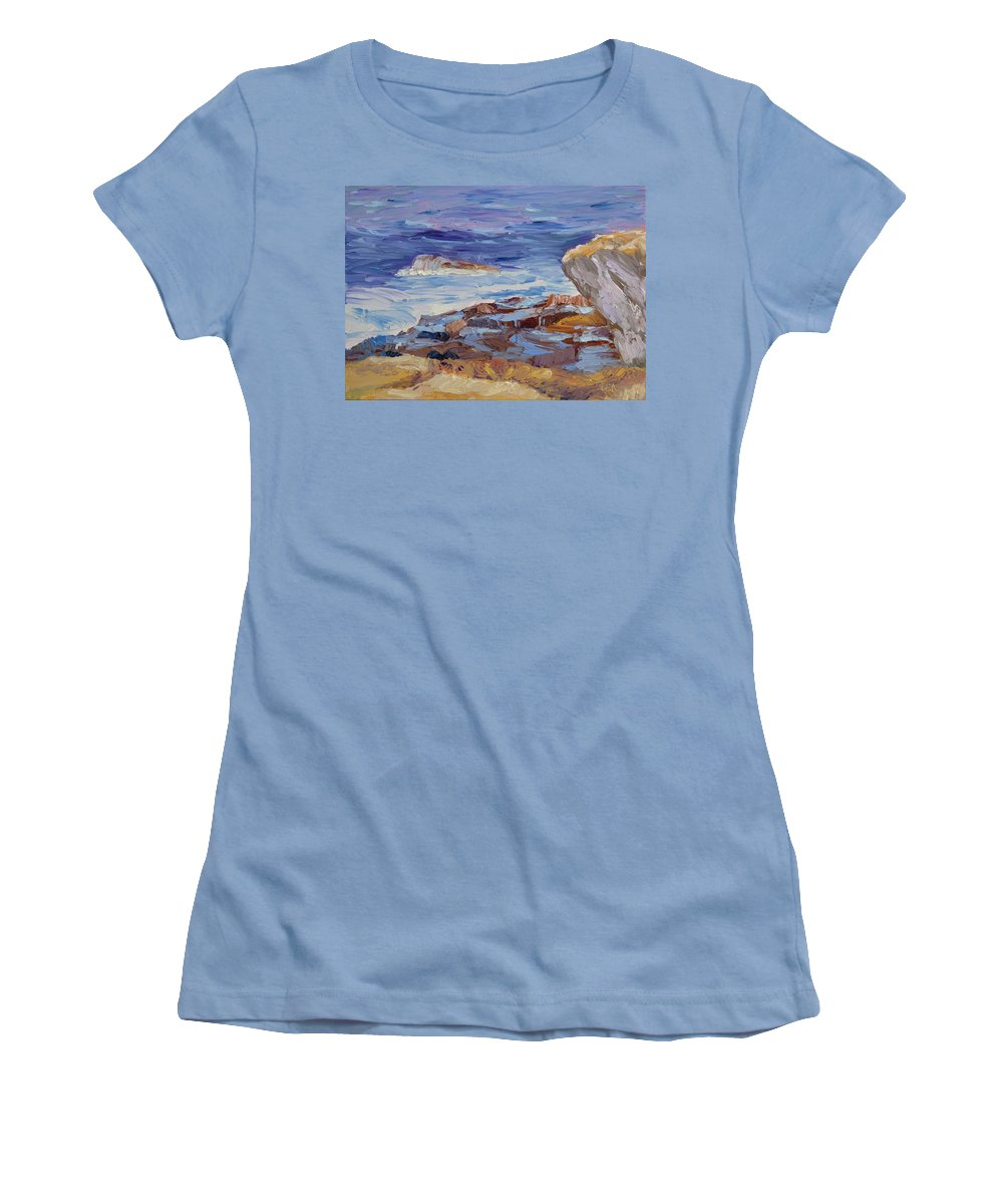 Seascape Painting Women's T-Shirt (Athletic Fit) featuring the painting Bass Rocks by Lea Novak
