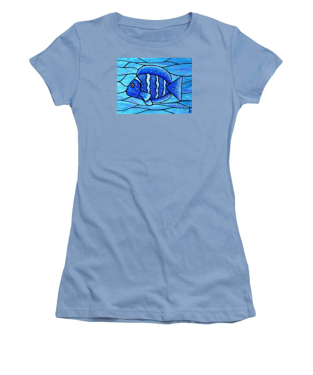 Tropical Fish Women's T-Shirt (Athletic Fit) featuring the painting Beckys Blue Tropical Fish by Jim Harris