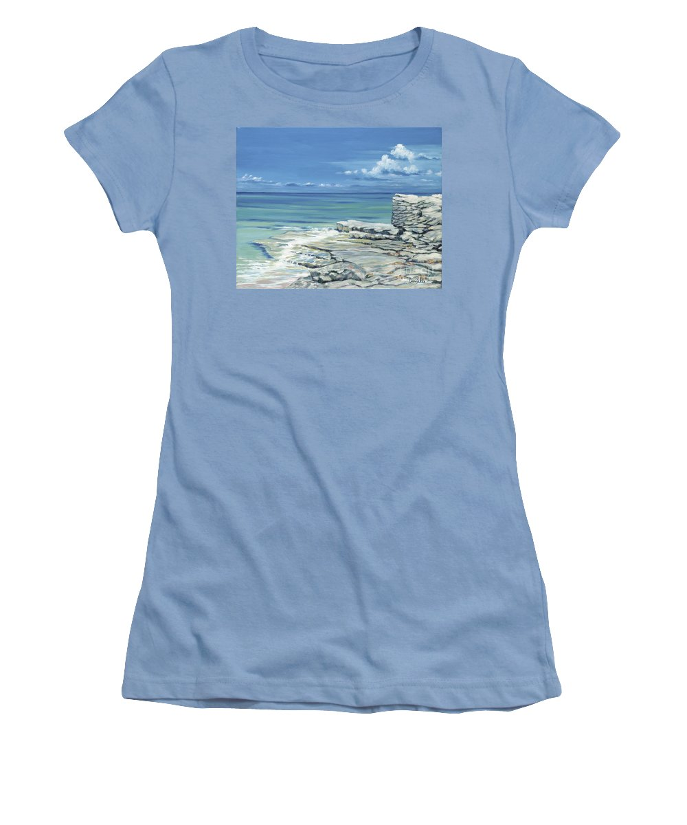 Bimini Women's T-Shirt (Athletic Fit) featuring the painting Bimini Blues by Danielle Perry