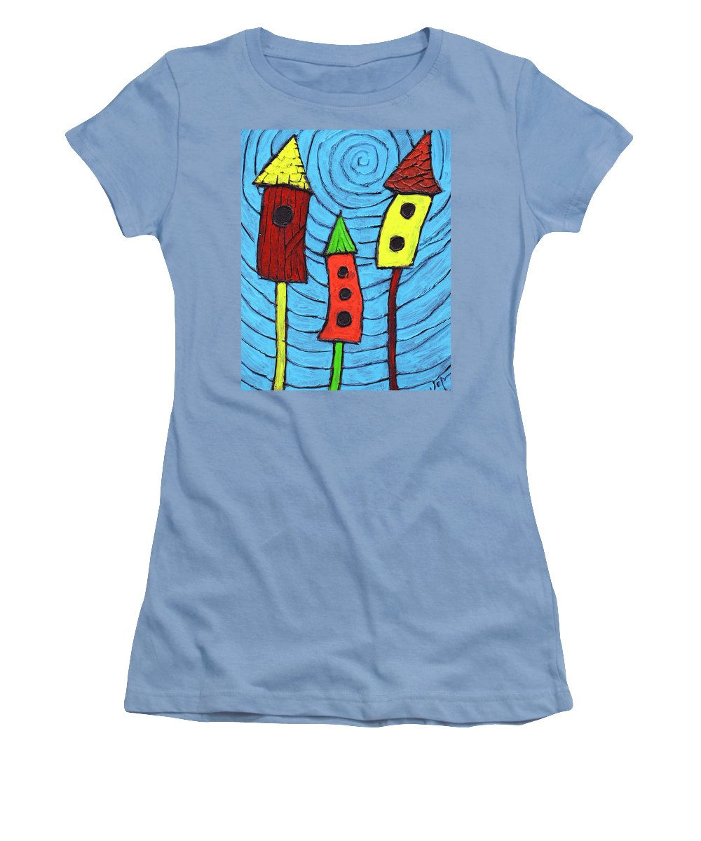 Bird Houses Women's T-Shirt (Athletic Fit) featuring the painting Bird Neighbors by Wayne Potrafka