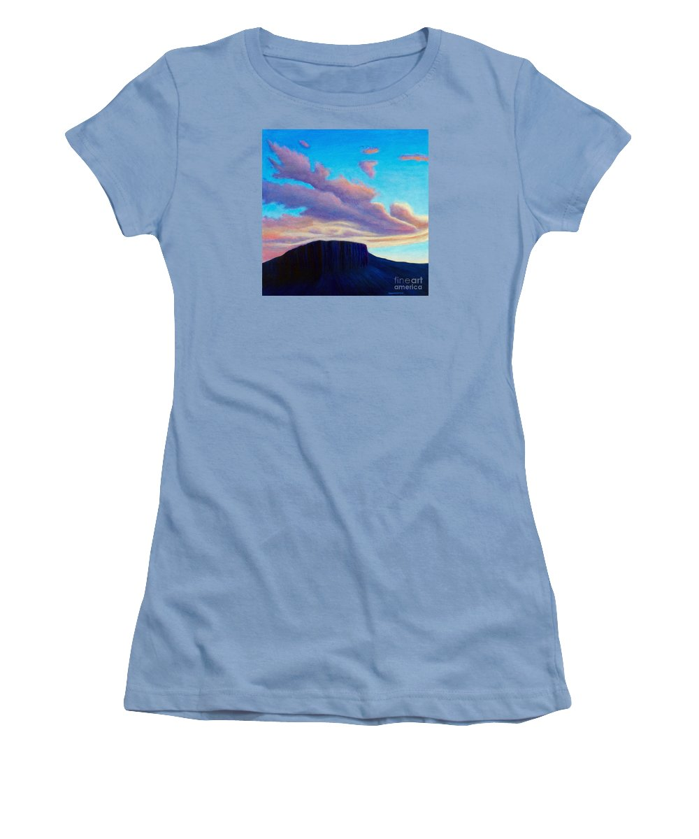Landscape Women's T-Shirt (Athletic Fit) featuring the painting Black Mesa Sunset by Brian Commerford