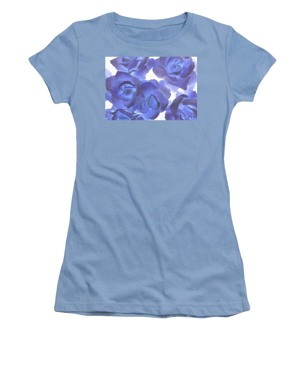 Blue Women's T-Shirt (Athletic Fit) featuring the photograph Blue Roses by Tom Reynen