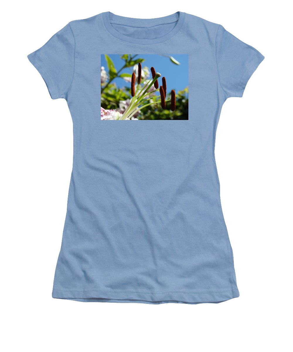 Lilies Women's T-Shirt (Athletic Fit) featuring the photograph Blue Sky Sunny Floral Pink Lily Flower Baslee Troutman by Baslee Troutman