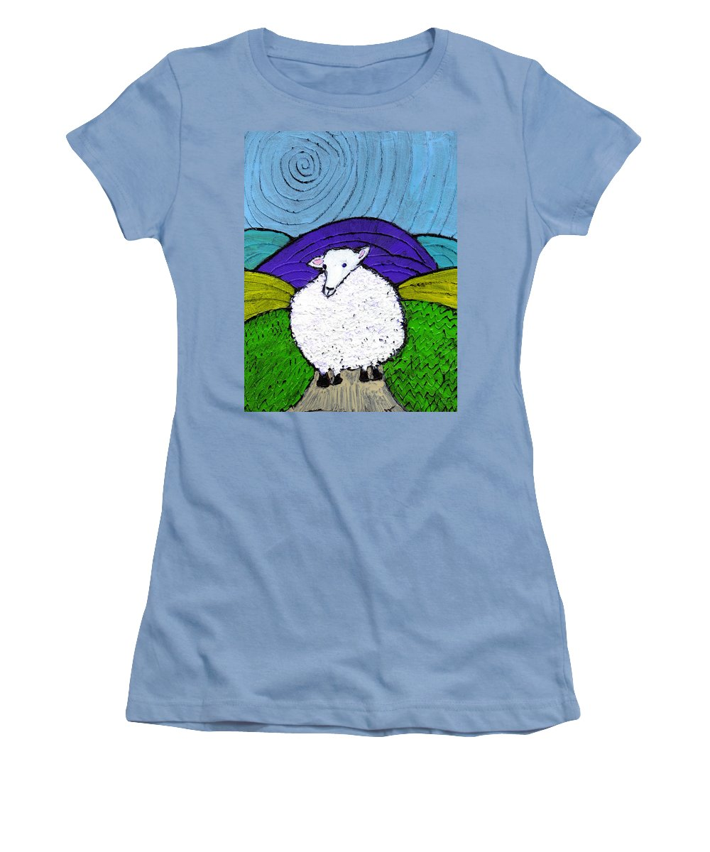 Sheep Women's T-Shirt (Athletic Fit) featuring the painting Bo Peeps Lost Sheep by Wayne Potrafka