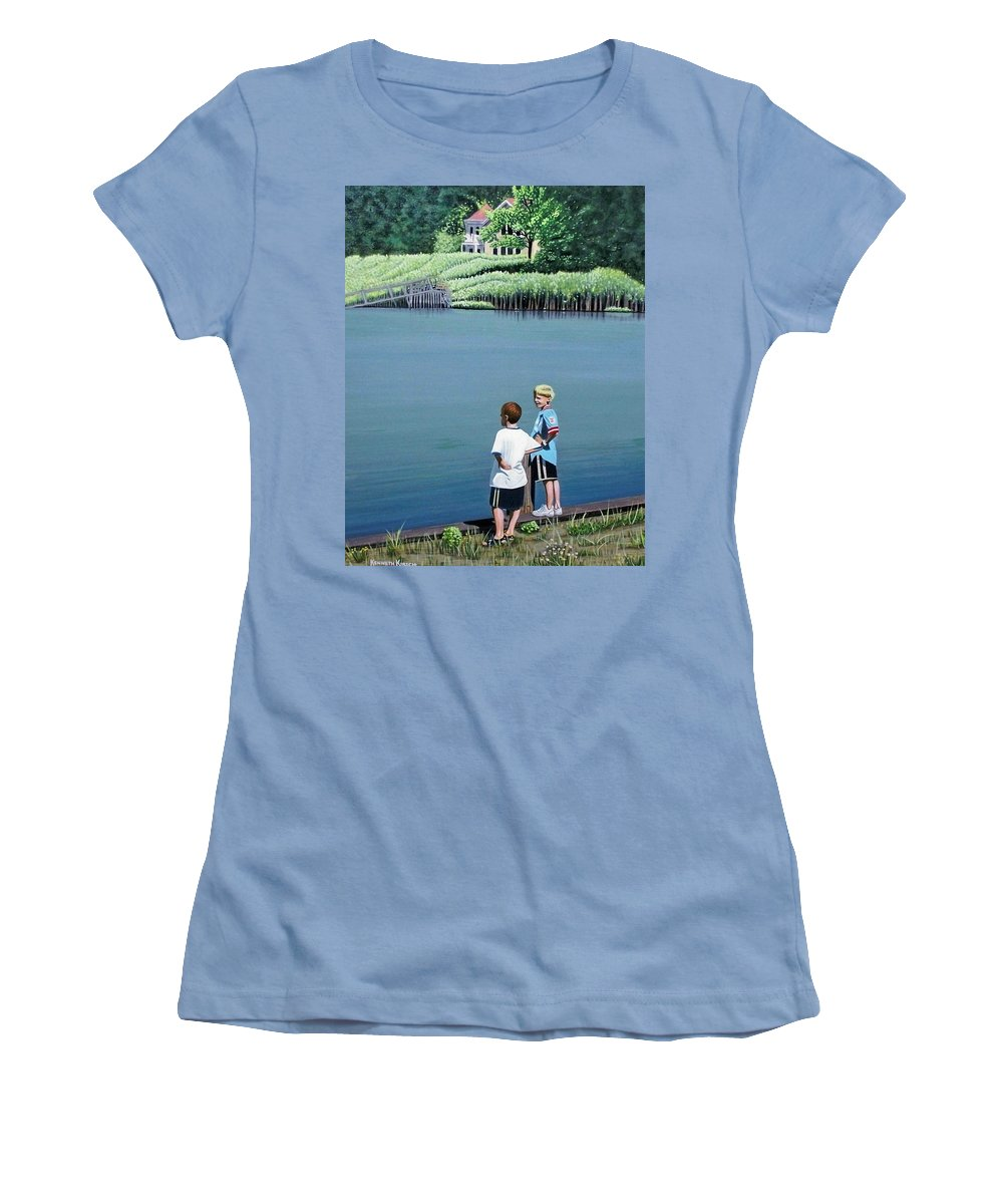 Landscape Women's T-Shirt (Athletic Fit) featuring the painting Boys Of Summer by Kenneth M Kirsch