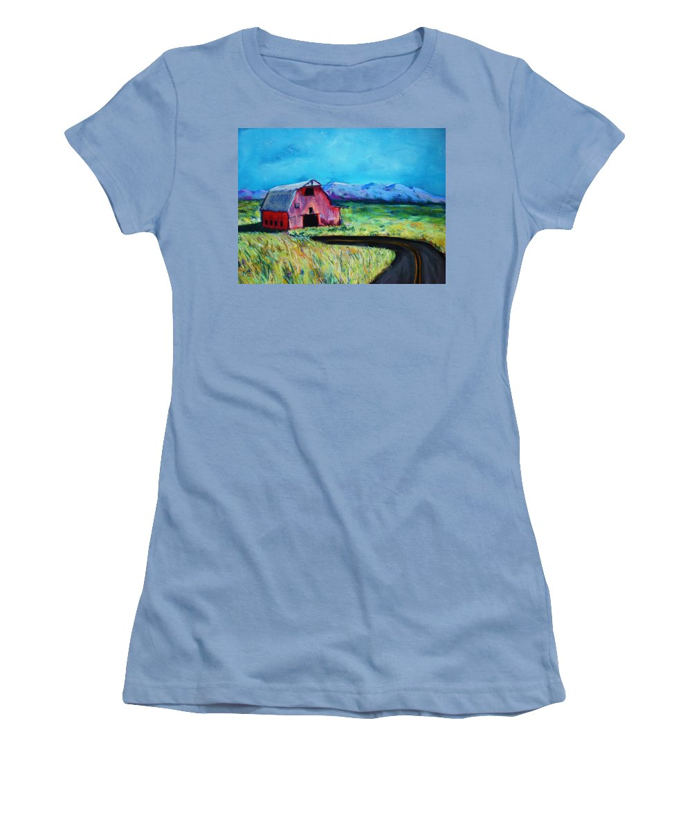 Barn Women's T-Shirt (Athletic Fit) featuring the pastel Bradley's Barn by Melinda Etzold