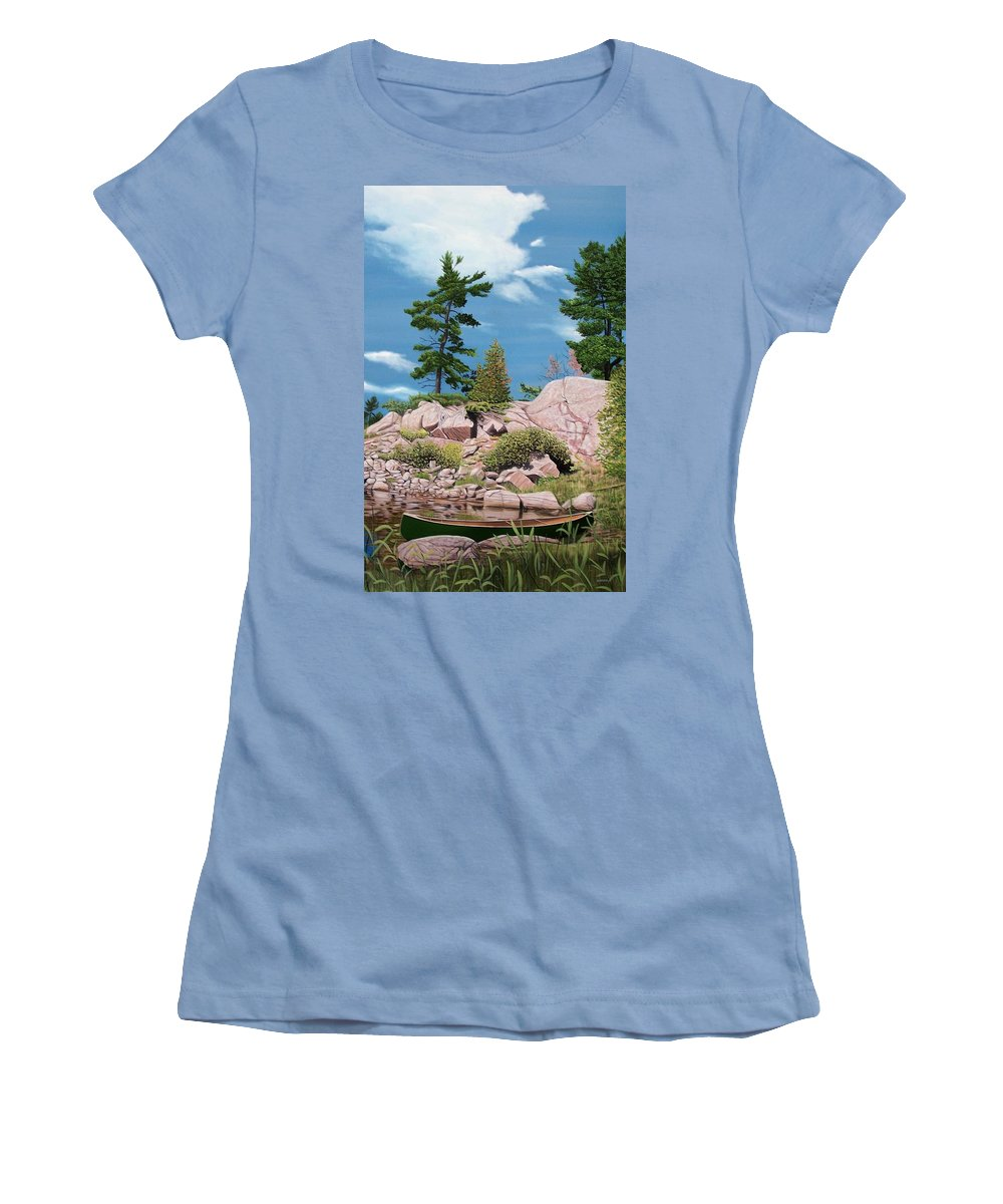 Landscapes Women's T-Shirt (Athletic Fit) featuring the painting Canoe Among The Rocks by Kenneth M Kirsch