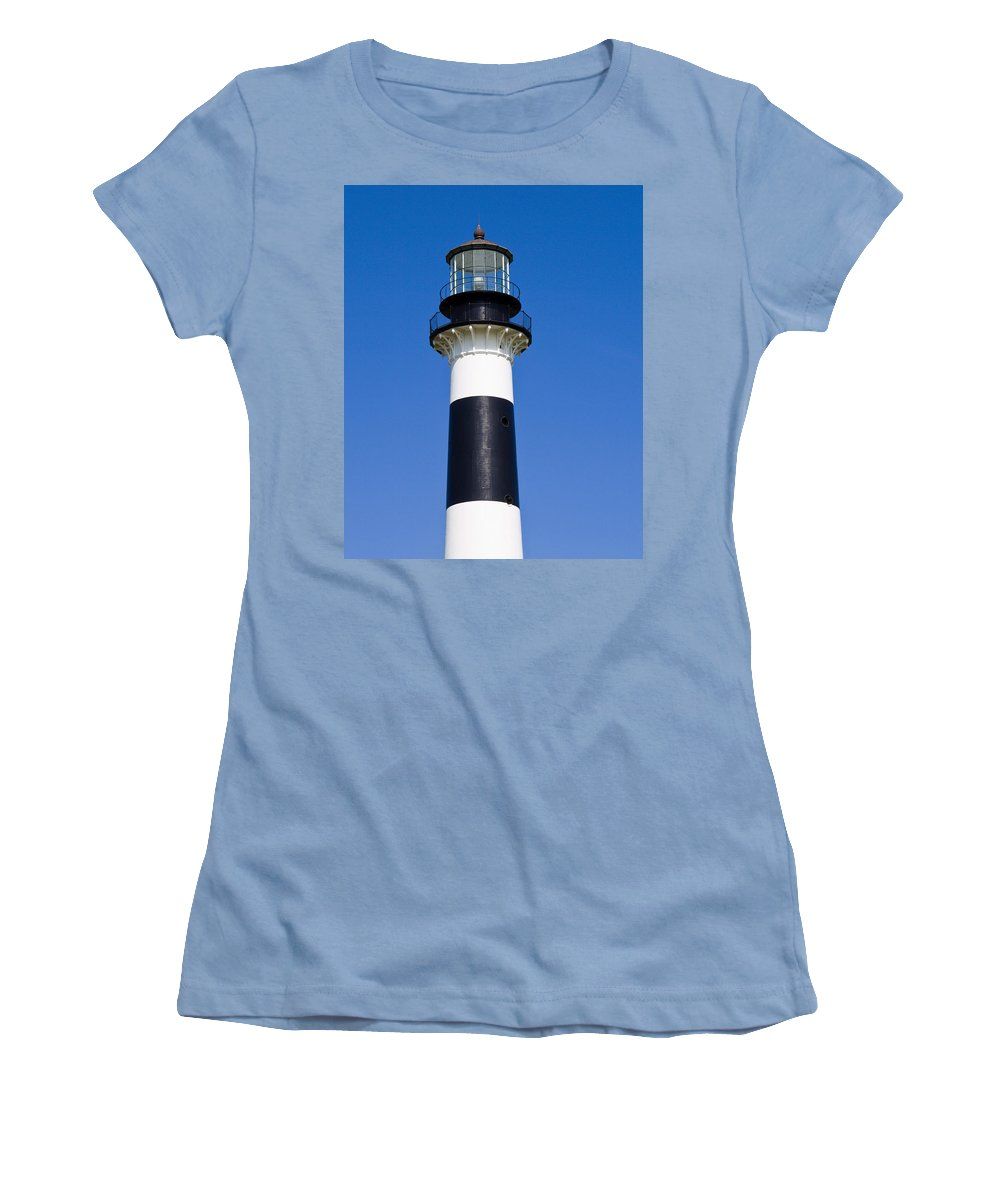 Cape; Canaveral; Light; Lighthouse; Florida; Keeper; Navigation; Usa; Atlantic; Kennedy; Space; Beac Women's T-Shirt (Athletic Fit) featuring the photograph Cape Canaveral Lighthouse On The East Coast Of Florida by Allan Hughes