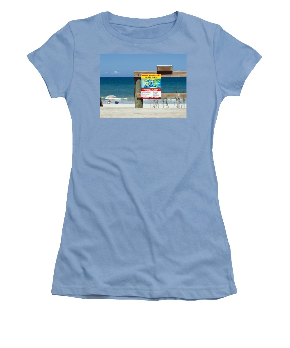 Florida; Beach; Surf; Surfing; Shore; Coast; Sand; Sandy; Waves; Summer; Central; Melbourne; Rip; Cu Women's T-Shirt (Athletic Fit) featuring the photograph Central Florida Beach Warning by Allan Hughes