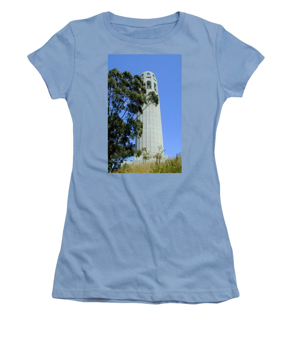 Coit Women's T-Shirt (Athletic Fit) featuring the photograph Coit Tower by Douglas Barnett