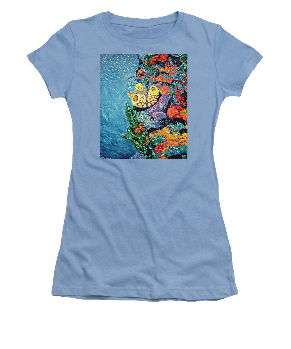 Coral Women's T-Shirt (Athletic Fit) featuring the painting Coral With Cucumber by Ericka Herazo