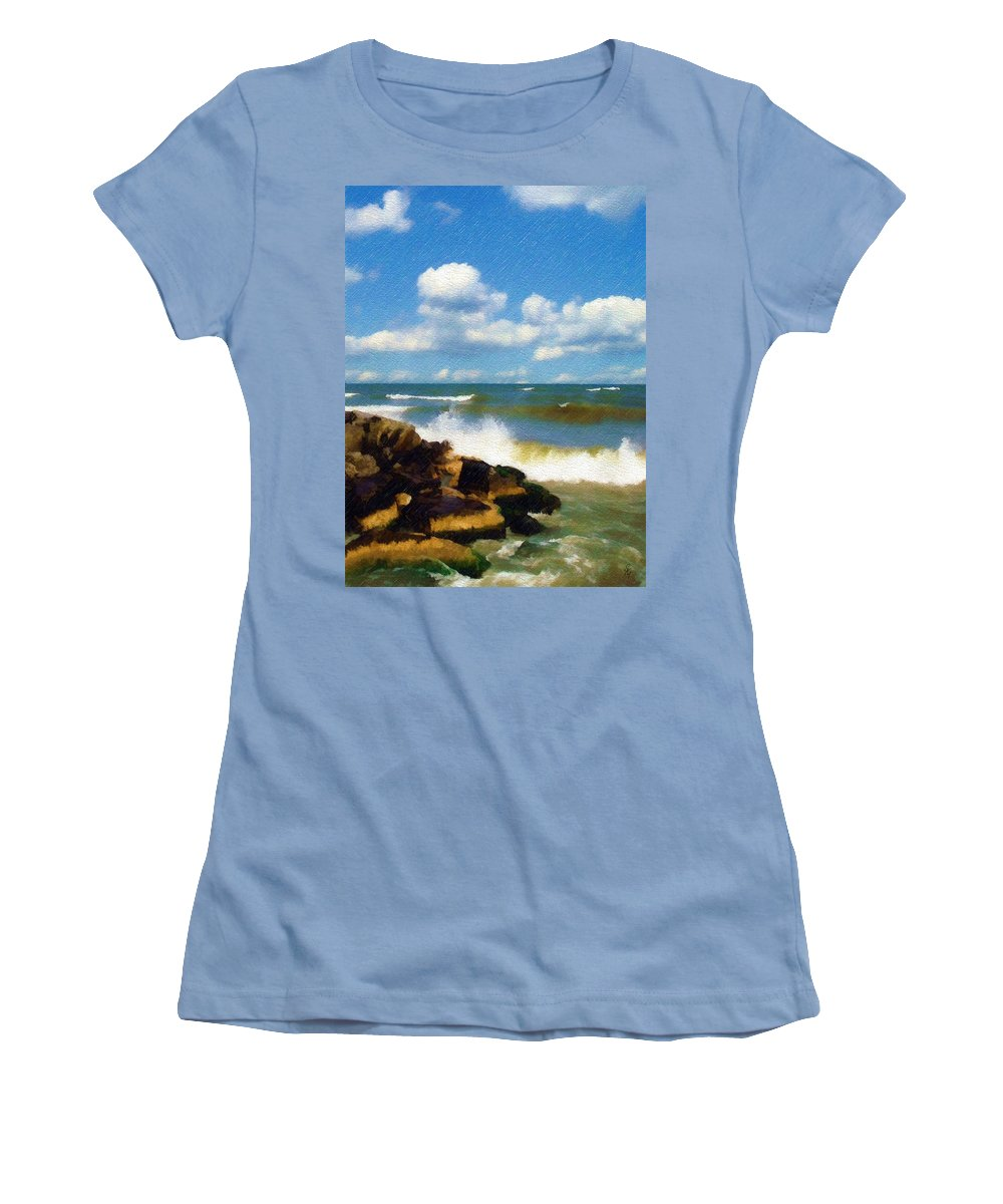 Seascape Women's T-Shirt (Athletic Fit) featuring the photograph Crashing Into Shore by Sandy MacGowan
