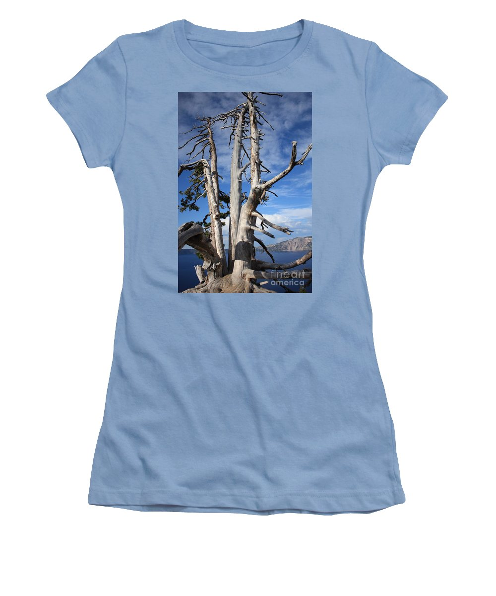 Tree Women's T-Shirt (Athletic Fit) featuring the photograph Crater Lake Tree by Carol Groenen