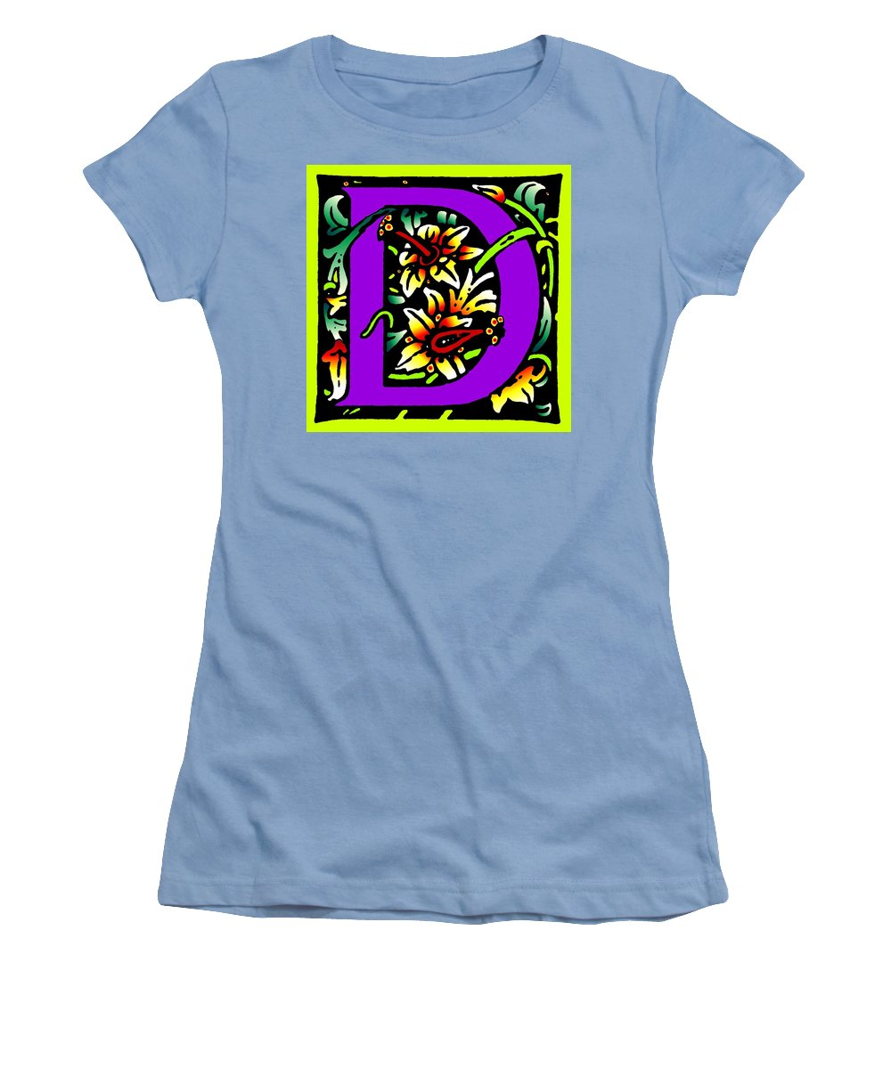 Alphabet Women's T-Shirt (Athletic Fit) featuring the digital art D In Purple by Kathleen Sepulveda