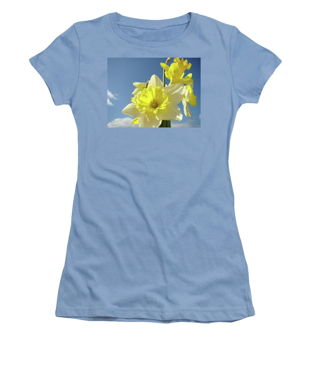 �daffodils Artwork� Women's T-Shirt (Athletic Fit) featuring the photograph Daffodil Flowers Artwork Floral Photography Spring Flower Art Prints by Baslee Troutman