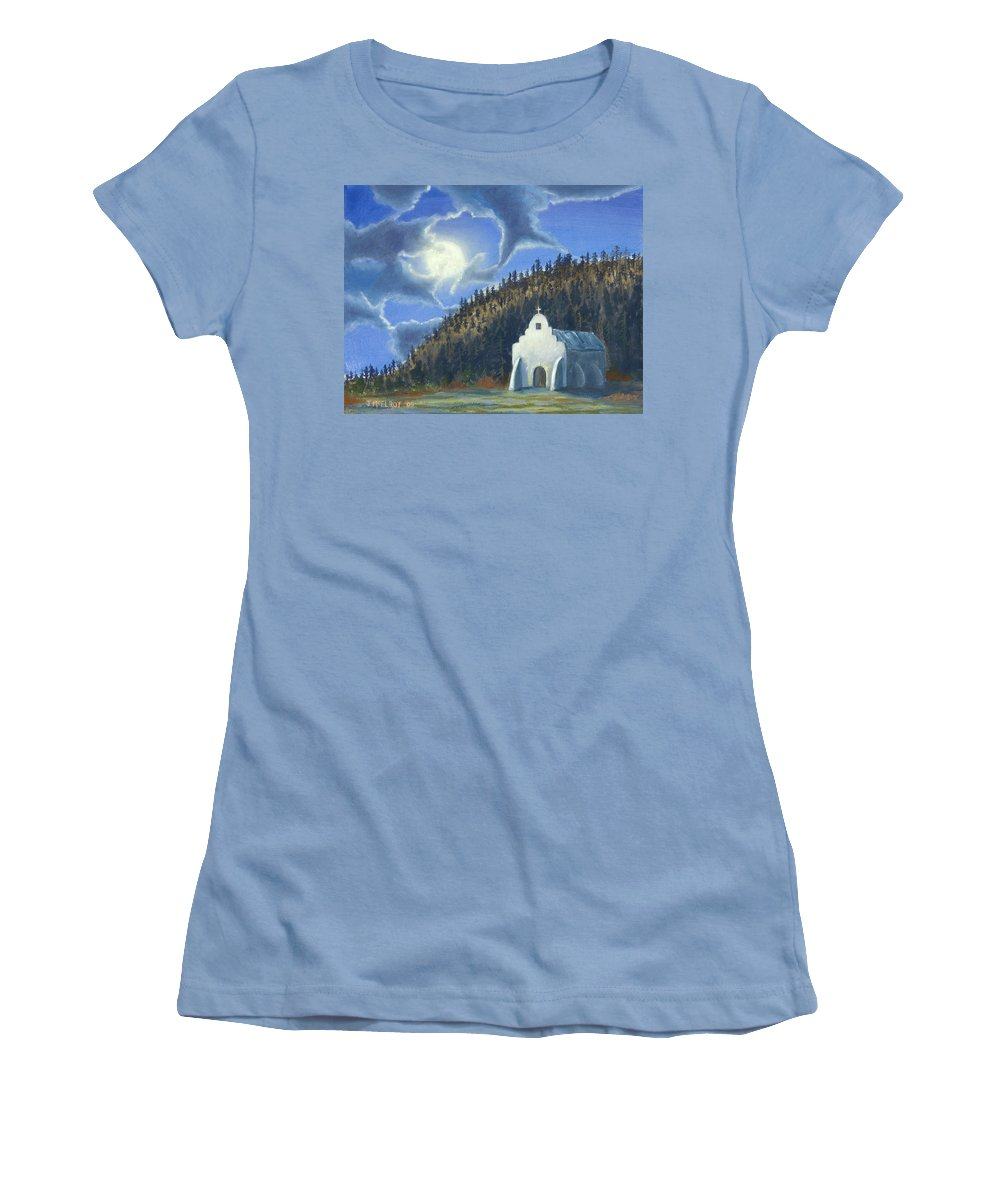 Landscape Women's T-Shirt (Athletic Fit) featuring the painting Dancing In The Moonlight by Jerry McElroy