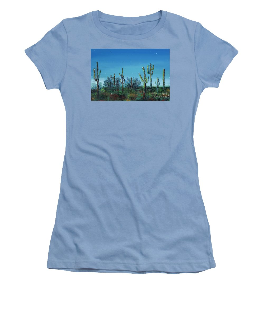 Desert Saguaro Catus In Bloom Women's T-Shirt (Athletic Fit) featuring the painting Desert Blue by Frances Marino