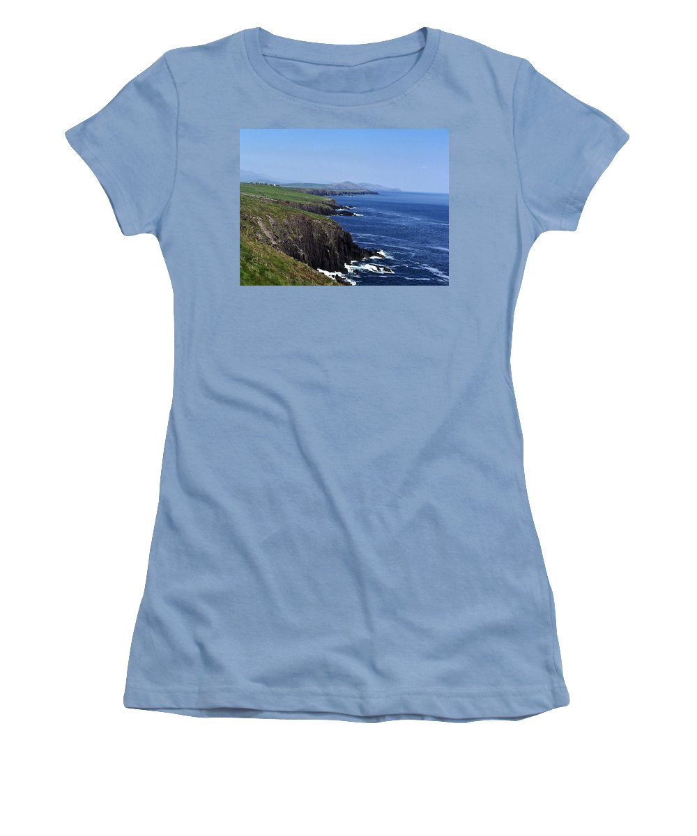 Irish Women's T-Shirt (Athletic Fit) featuring the photograph Dingle Coast Near Fahan Ireland by Teresa Mucha