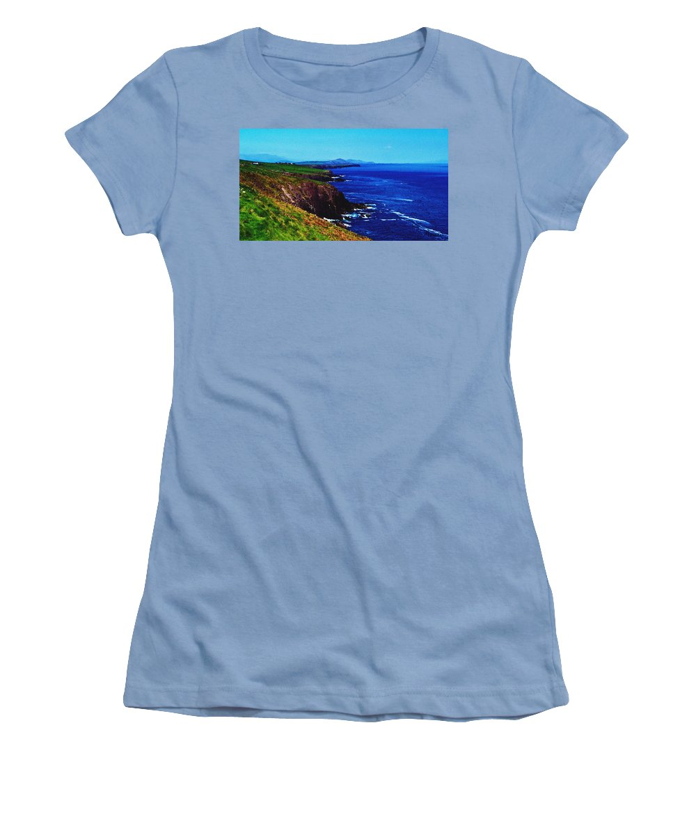 Irish Women's T-Shirt (Athletic Fit) featuring the digital art Dingle Coastline Near Fahan Ireland by Teresa Mucha