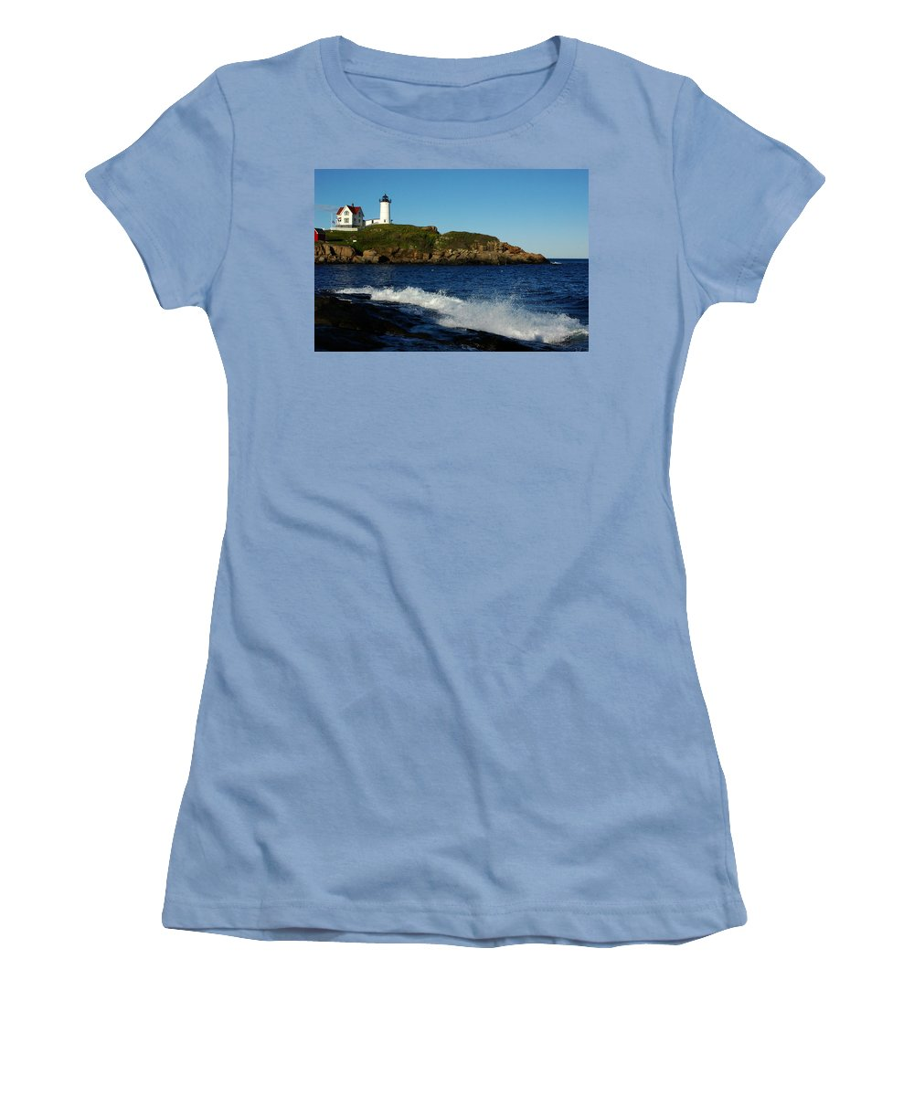 Landscape Lighthouse Nautical New England Cape Neddick Nubble Light Women's T-Shirt (Athletic Fit) featuring the photograph Dnre0608 by Henry Butz