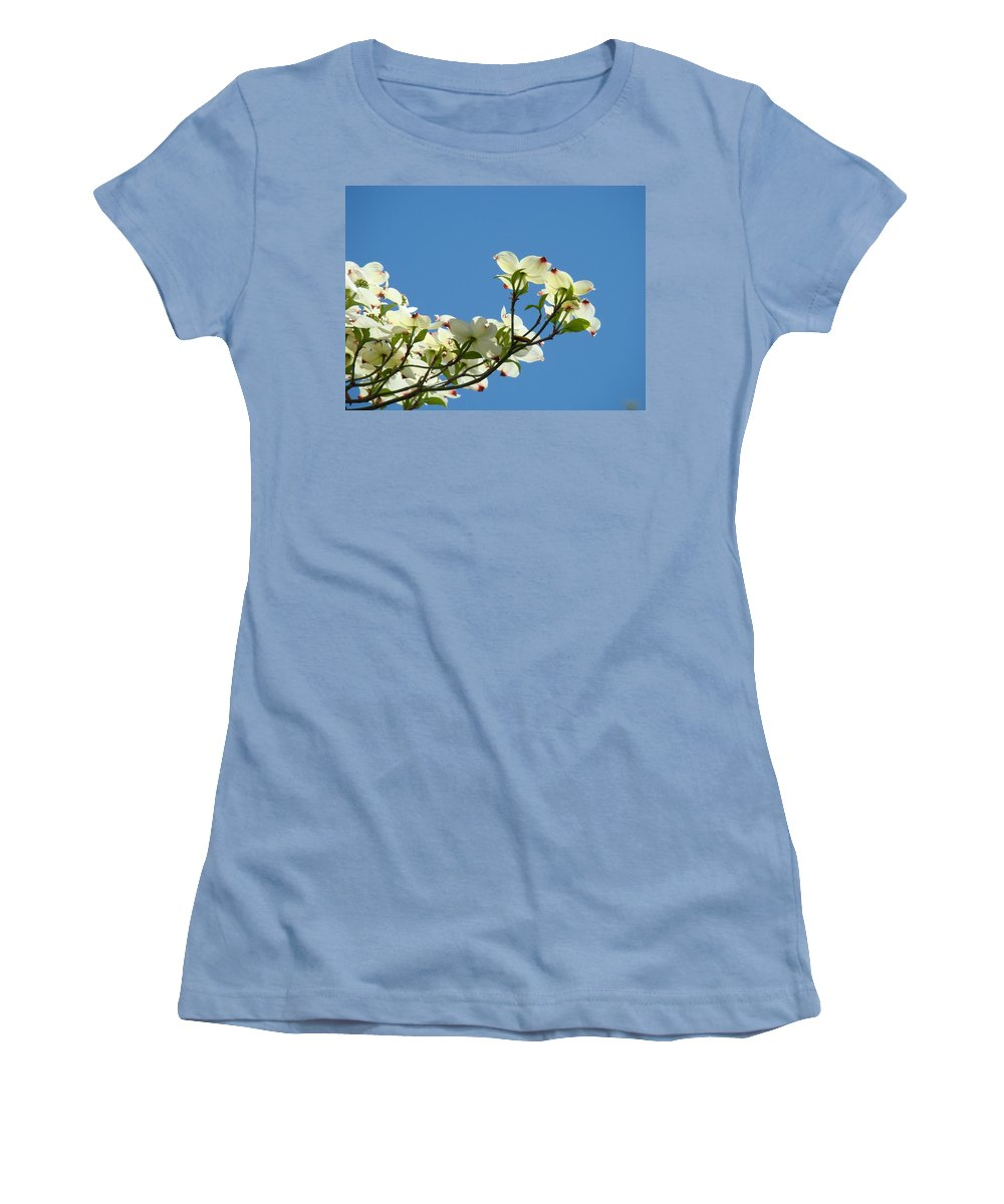 Dogwood Women's T-Shirt (Athletic Fit) featuring the photograph Dogwood Flowers Art Prints White Flowering Dogwood Tree Baslee Troutman by Baslee Troutman