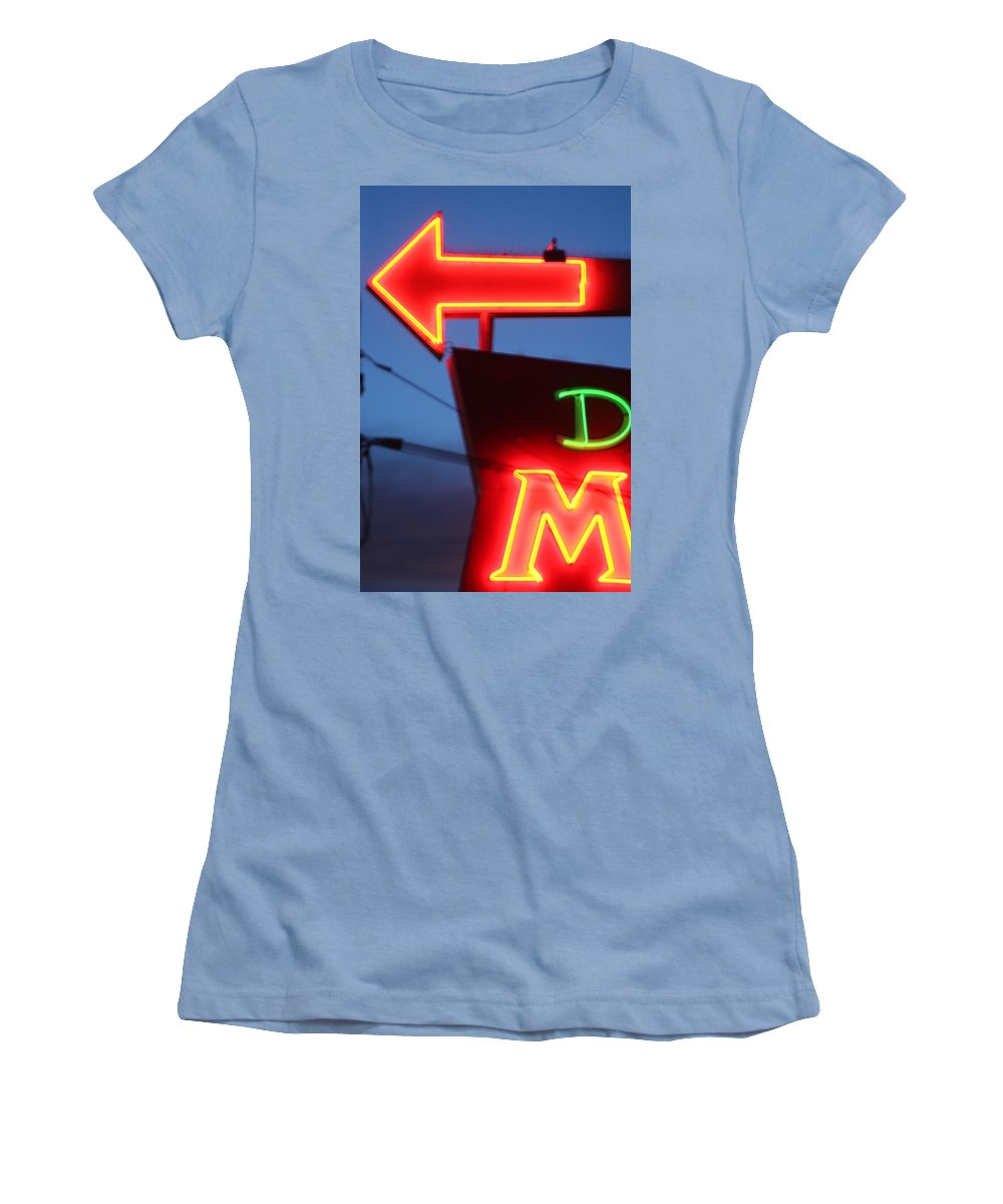Neon Women's T-Shirt (Athletic Fit) featuring the photograph Driftwood Motel by Jeffery Ball