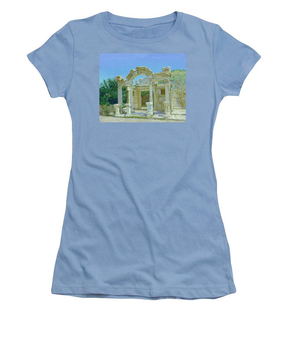 Ephesus Women's T-Shirt (Athletic Fit) featuring the painting Ephesus.ruins by Simon Kozhin
